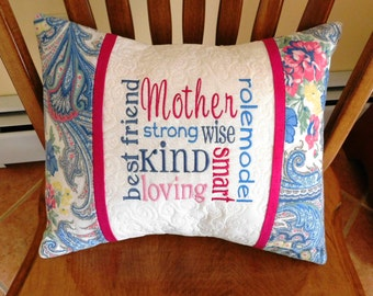 "CUSTOM MOTHER 16""x12"" embroidered, personalized quilted pillow COVER; mother gift, quilted pillow sham, custom embroidered gift"
