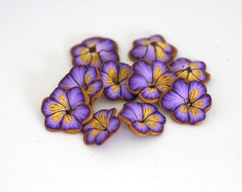 Purple Pansy Beads, Polymer Clay Flower Beads, Johnny Jump Ups, 10 Pieces