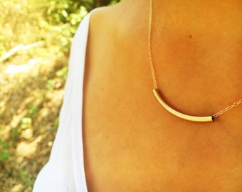 Curved  Gold Tube Necklace, Minimal  Necklace, Horizontal Necklace, Layering Necklace, Tube Necklace, Stylish Design, Antique Style Necklace
