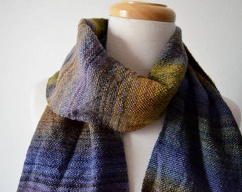 MIDNIGHT Handwoven Scarf in Handspun Merino Wool on Bamboo Thread - Textured Multicolor Dark Handwoven Wool Scarf: Fall Fashion, Unisex