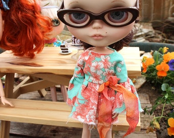 """Mint and Coral Peasant Style Tattered Dress for Blythe 12"""""""