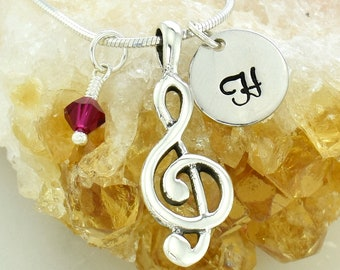Customizable Treble Clef Silver Necklace Custom Hand Stamped Letter Tag Swarovski Crystal Birthstone Charm Chain Personalized Pendant