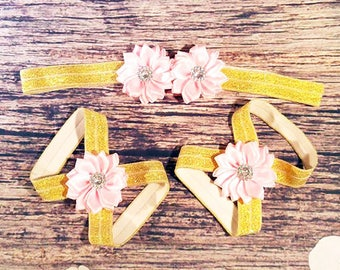 Pink and Gold Baby Barefoot Sandals and Headband -  Baby Barefoot Sandals - Baby Girl Headband - Newborn Barefoot Sandals - Gold Sandals