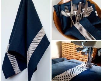 Linen Kitchen Towel – Dark Blue with Laces, Dish Towel, Tea Towel