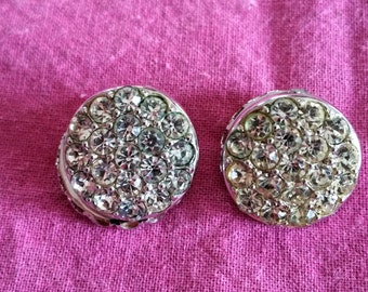 Sarah Coventry Reversible Clip-on Earrings with Rhinestone and Pearl, Vintage 1960's