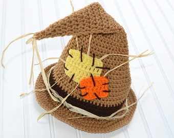 Toddler Scarecrow Hat/ Halloween Costume/ Baby Halloween Hat/ Baby Boy Scarecrow