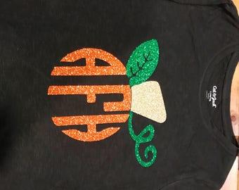 Monogram Glitter long sleeve pumpkin shirt