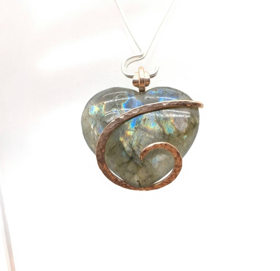 Healing Labradorite Pendant | Rainbow Labradorite Heart | 14kt Rose Gold Filled | Gift for Girlfriend | Gift for Wife | Heart Necklace