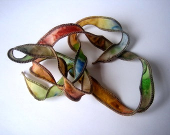 Brown green rust fawn blue, silk ribbon wrap, Fairy Ribbon, DIY wrap bracelet, Silk Bracelet, bracelet supply, handpainted silk ribbon