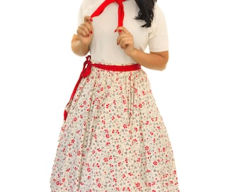 Vintage 1950s Dress /  50s Circle Skirt  / Vintage 50s Floral Print Circle Skirt