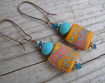 Lampwork Southwest Earrings Tribal Yellow Blue