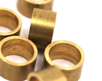 10 pcs 10 x 6 mm  (hole 8 mm) Raw Solid Brass Spacer Bead , Findings bab8 1619