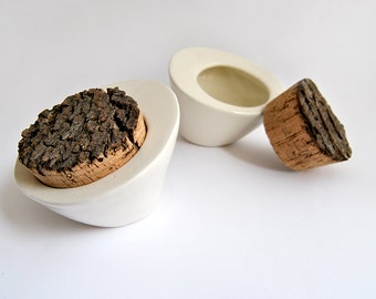 Ceramic Salt Cellar or Multi Purpose Box in White Clay with Rustic Natural Cork Stopper as Close. Made To Order