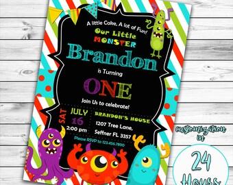 Little Monster Birthday Invitation, Monster Birthday Invitation, Monster Invitation, Monster Birthday Party, Monster Birthday, Printable