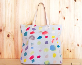 Leather handle bag/watercolor print/Nani Iro pattern/tote bag-leather handle/