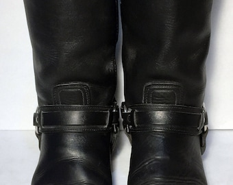 FRYE 87250 Harness 12 R Belted Black Leather Motorcycle Riding Boots Men's Size 11