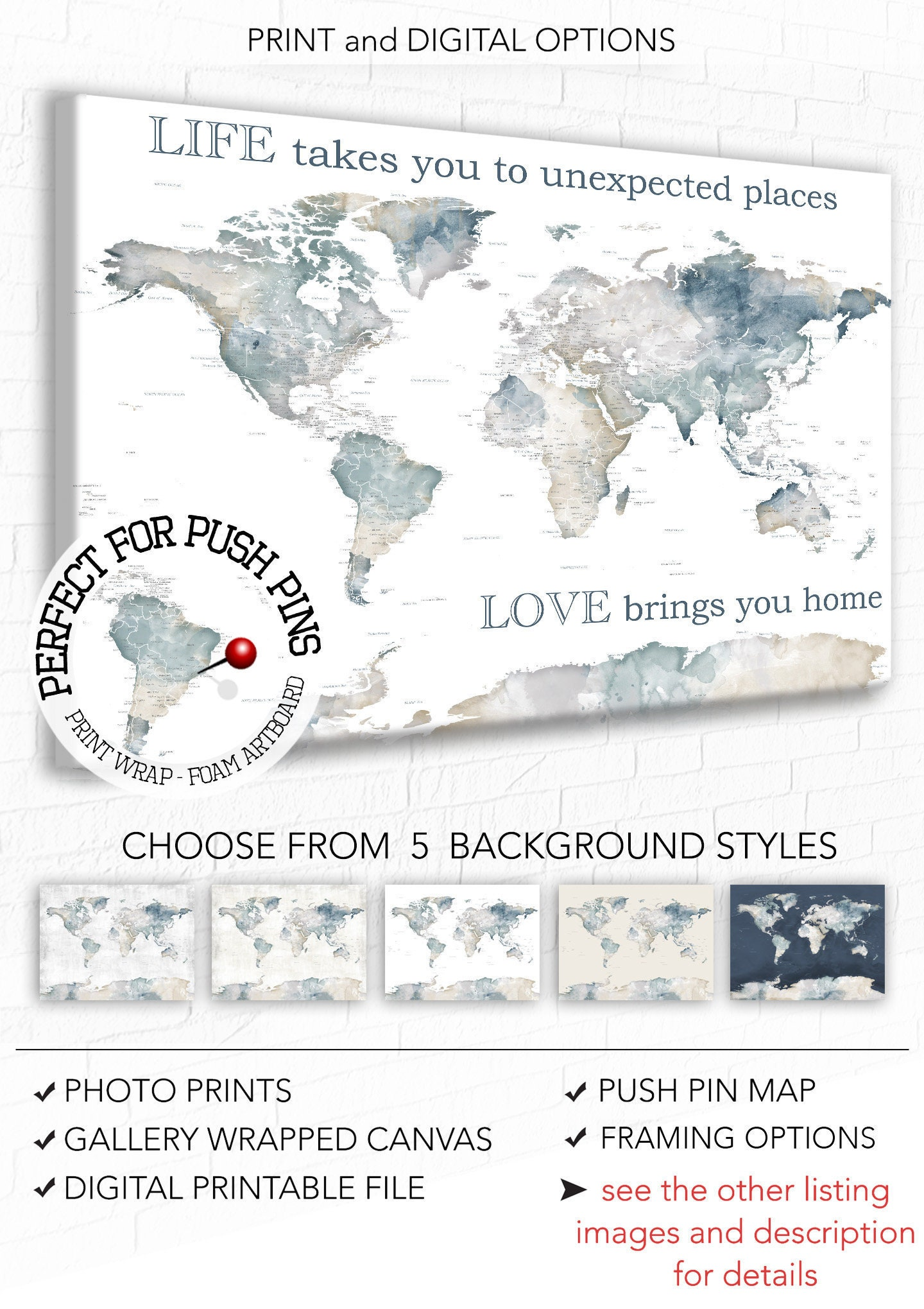 World map wall art with personalised text neutral color map with world map wall art with personalised text neutral color map with words life takes us quote watercolor map art for wedding map for couple gumiabroncs Gallery