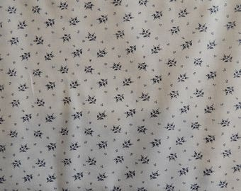White cotton background embroidery Navy Blue leaves pattern