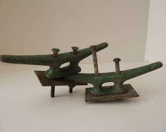 "Vintage Boat Cleats, Set Of 2, Marine Steel Painted Green, 8"" Long, Nautical Decor, Circa 1950's"