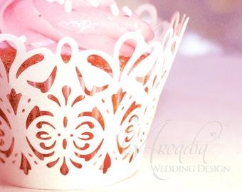 Mini Cupcake Wrapper 10 pcs, Damask Lace Silhouette DIY Wedding Decoration details, Party Cupcake Decor, Cupcake Decor