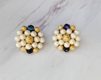 1950's  Faux Pearl and Gold Cluster Clip On Earrings