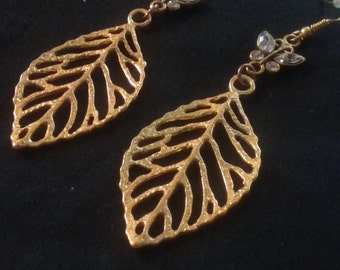 Nickle Free Gold Plated Leaf and Butterfly Earrings, Filigree Leaf Charm, Gold Plated Earrings, Long Earrings, Butterfly Jewelry