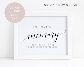 In loving memory signs, Wedding memory sign, In loving memory template, Instant download, Wedding Reception signs, Memorial table sign, PDF