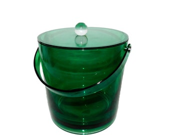 Vintage EMERALD Green Plastic ICE BUCKET with Matching Lid