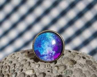 Large galaxy ring Blue galaxy jewelry Brass rings modern Space ring men Big cocktail ring Unique rings for women Best selling items jewelry