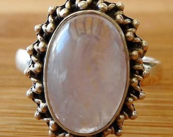 Pink Kunzite Bohemian Silver Ring + Free Gift Box, Bag & Gift