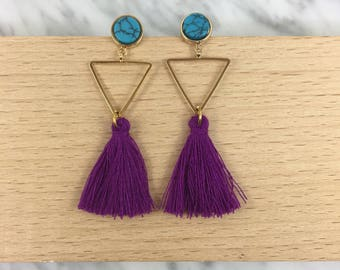 Tassel earrings, purple tassel earrings, turquoise tassel earrings, bright purple tassel earrings, tassel jewelry, summer jewelry