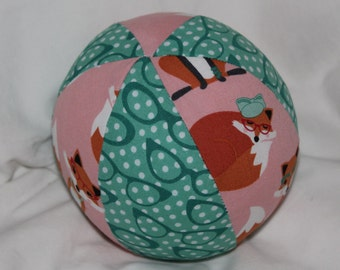Pink Fabulous Foxes Fabric Boutique Ball Rattle Toy