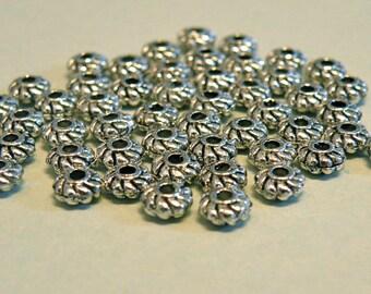 DESTASH --  50 Pewter Tiny 4mm Spacer Beads