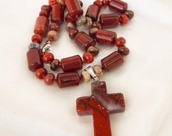 Red jasper necklace Red jasper cross necklace Red jasper cross pendant Natural gemstone cross necklace  Gemstone pendant Boho cross necklace