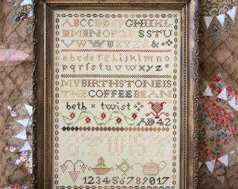 Coffee Bean Sampler; the Magical Elixir Series #4 : Cross Stitch Pattern by Heartstring Samplery