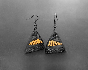 Designer earrings, modern, contemporary jewelry design, unique, FREE Shipping, lasercut wood, black steel hooks, polymer clay