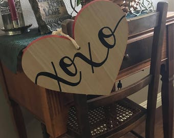 XOXO Valentine's Day Hanging Heart Shaped Wood Sign