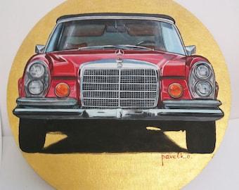 Original acrylic painting on canvas, Original art, Car art, automotive art vintage car Mersedes-Benz
