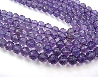 Amethyst Gemstone.  Faceted, Round Rondelles, 4mm to 5mm. Semi Precious Gemstone. Your Choice. (aam2a).