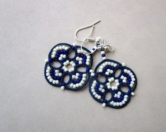 Nautical striped blue and white tatted earrings made in Italy | tatted lace earrings | tatting  jewelry | lightweight | frivolitè