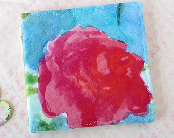 Pink Rose Needle Case Watercolor Floral Fabric Pin Keep