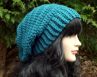 Teal Blue Slouchy Crochet Hat, Womens Slouch Beanie, Oversized Slouchy Beanie, Chunky Hat, Slouchy Hat, Winter Hat, Slouch Hat, Gift for Her