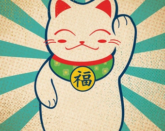 Lucky Cat Art Print - Japanese Good Luck