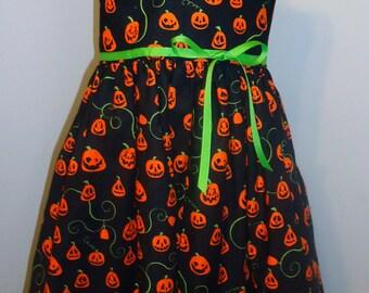 Halloween Pumpkin Jack-O-Lantern Girls Dress - Size 5/6