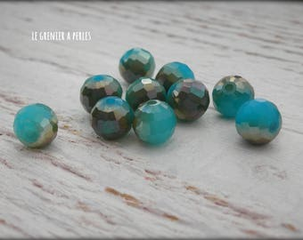 Blue Opal AB 8 mm faceted round beads X 10