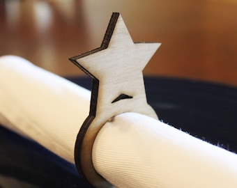 Star Wood Napkin Rings, 4th of July, New Years Eve, Laser Cut Set of 4, 8, 12