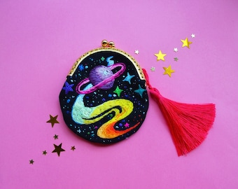hand embroidery galaxy Purse , little coin purse , space print wallet , boho wallet galaxy