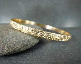 Floral 14K Gold Filled Bangle Bracelet, Swirls & Flowers, 5mm Wide Yellow Gold Filled Stacking Bracelet, Nature Inspired Jewelry, Everyday