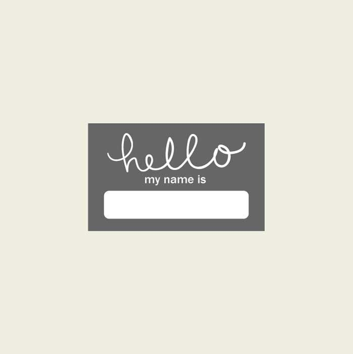 Blue Amp Grey Hello Name Sticker Name Labels Name Tag