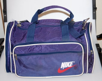Nike Navy Blue Duffle Gym Bag Vintage 1980s